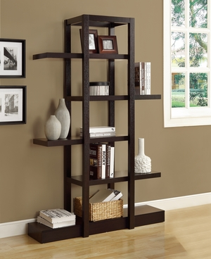 """I 2541 Cappuccino 71""""H Open Concept Display Etagere"""