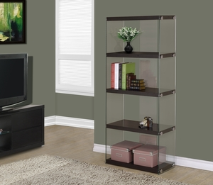 "I 3283 Cappuccino Hollow-Core / Tempered Glass 60""H Bookcase"