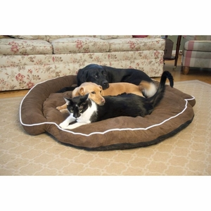 Iconic Pet - Luxury Bolster Pet Bed - Cocoa - Small