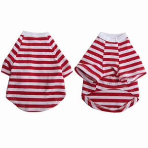Iconic Pet - Pretty Pet Red and White Striped Top - Medium