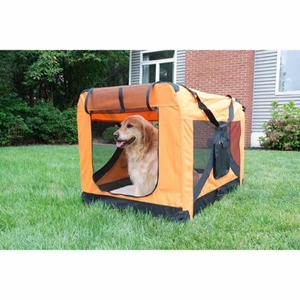 Iconic Pet - Versatile Pet Soft Crate with Fleece Mat - Orange - Medium