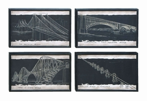 Blueprint Style Art With Iconic World Bridges - 56004 by Benzara