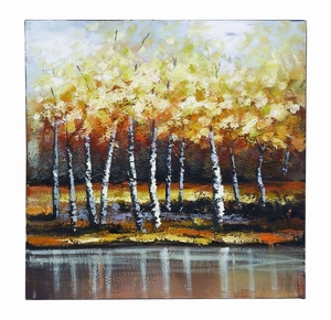 Nature Painting With Bright Gold Trees - 53673 by Benzara