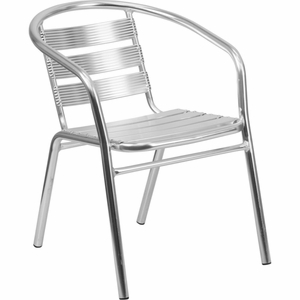 Indoor Outdoor Stack Chair Aluminum - TLH-1-GG by Flash Furniture