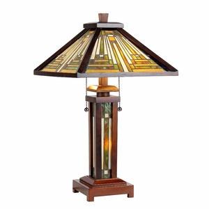 """INNES Tiffany-style 3 Light Mission Double Lit Wooden Table Lamp 15"""" Shade"""