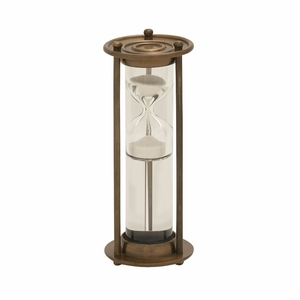 Innovative Aluminum Glass Floating Gold Sand Timer - 24540 by Benzara
