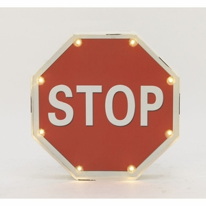Innovative Metal Led Stop Sign - 87486 by Benzara