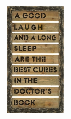 Inspirational Humor And Laughter Wall Decor In Antique Wood - 56002 by Benzara