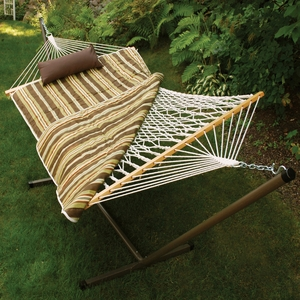 Alogma Interesting Cotton Rope Hammock Stand Pad Pillow Combination