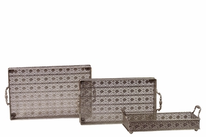 Intricately Crafted Metal Tray Set of Three