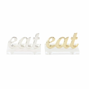 Intriguing Aluminium Eat Sign In Gold And Silver, 2 Assortment