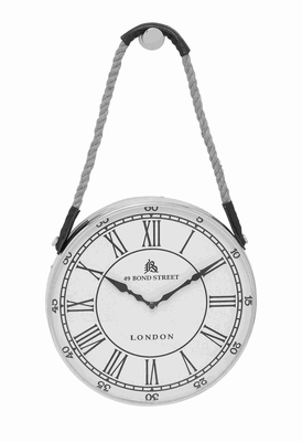 Metal Hanging Wall Clock With Attached Rope Fitted With Leather Straps (Small) - 27868 by Benzara