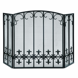 Iron Meshed Fireplace Screen with Fleur de Lis in Black Color by SPI-HOME