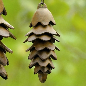 SPI HOME Iron Pinecone Wind Chime in Rust Brown