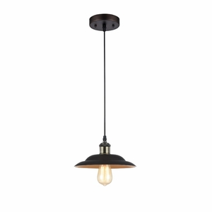 "Ironclad, Industrial-Style 1 Light Rubbed Bronze Ceiling Mini Pendant 10"" Shade"