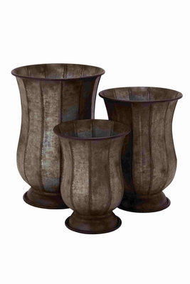 Old Rustic Metal Planter Set Of Three - 20249 by Benzara