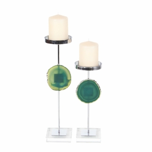 Jazzy Metal Agate Candle Holder, Set Of 2 - 35752 by Benzara
