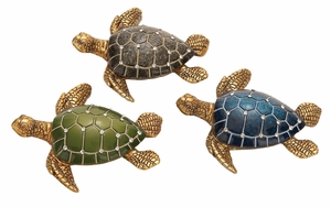 Table Top Polystone Turtle 3 Assorted  Statue - 69393 by Benzara