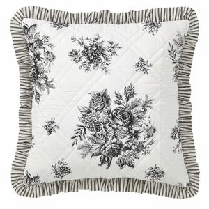 Josephine Black Quilted Euro Sham 26x26 - 26070 by VHC Brands