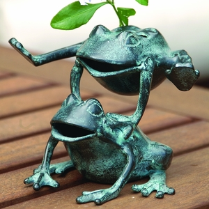 Joyful Leaping Frogs Flower Holder in Antique Blue by SPI-HOME
