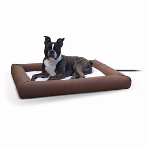 K&H Pet Products Deluxe Lectro-Soft Outdoor Heated Pet Bed Medium Brown