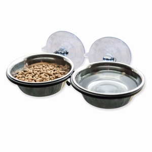 K&H Pet Products EZ Mount Up and Away Kitty Double Diner Stainless Steel/Black