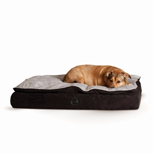 "K&H Pet Products Feather Top Ortho Pet Bed Small Black / Gray 20"" x 30"" x 6.5"""