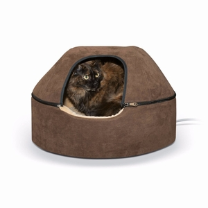 "K&H Pet Products Kitty Dome Bed Heated Large Chocolate 20"" x 20"" x 13.50"""