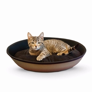"K&H Pet Products Mod Sleeper Cat Bed Small Tan / Black 18.5"" x 14"""