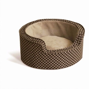 K&H Pet Products Round Comfy Sleeper Self-Warming Pet Bed Small Tan / Brown