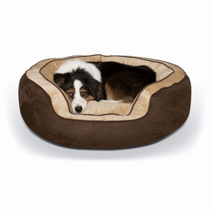 """K&H Pet Products Round n' Plush Bolster Dog Bed Large Chocolate/Tan 29"""" x 35"""" x 12"""""""