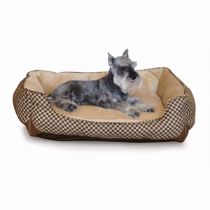 K&H Pet Products Self Warming Lounge Sleeper Square Pet Bed Medium Brown