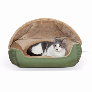 """K&H Pet Products Thermo-Hooded Pet Lounger Bed Sage/Tan 20"""" x 25"""" x 13"""""""