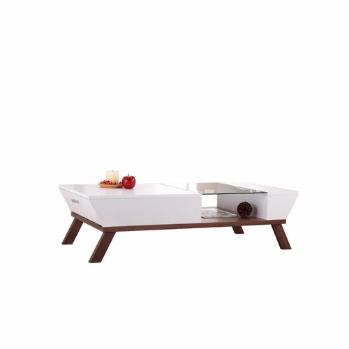 Buy Karli Glass Top Insert Contemporary Coffee Table At