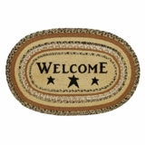 Kettle Grove Jute Rug Oval Stencil Welcome 20x30