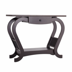 Kimmi Espresso Arched Side Panel Modern Sofa Table