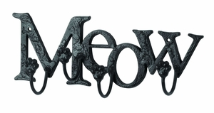 Cute Cat Wall Hook With Meow Message - 66549 by Benzara