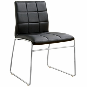 Kyree Black Faux Leather Tufted Side Chair