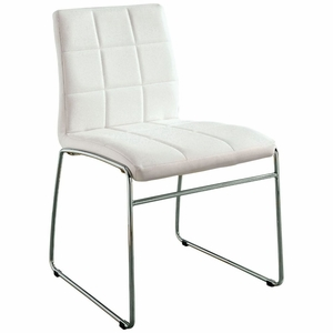 Kyree White Faux Leather Tufted Side Chair