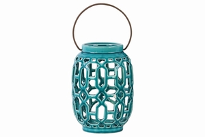 Lantern with Looping Cutout Design Body and Handle-Blue-Benzara