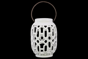 Lantern with Looping Cutout Design Body and Handle-White-Benzara