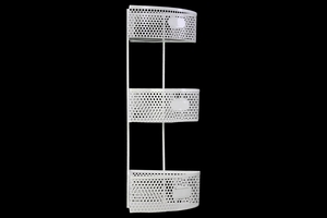 Large Metal Corner Shelf with 3 Tiers Perforated Sides and 3 Card Holders - White