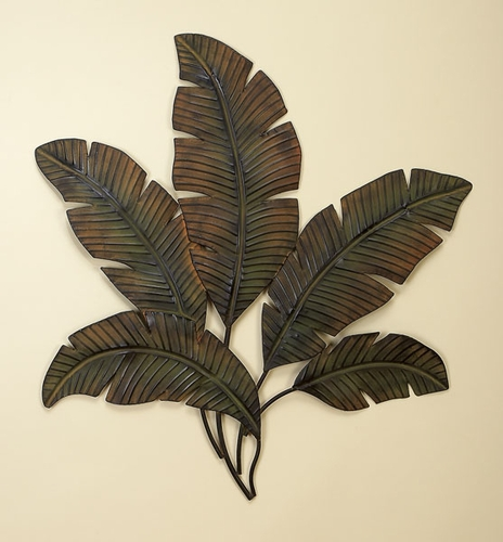 Buy large palm leaf metal wall decor sculpture leaf metal for Leaf wall decor