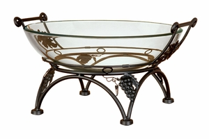 GLASS BOWL METAL STAND FOR WAITING LOUNGES - 72262 by Benzara