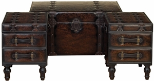 WOOD LEATHER TRUNK SET OF 3 COVERED WITH LEATHER - 99023 by Benzara