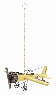 Decorative and Classy Yellow Vintage Bi Airplane Model - 92625 by Benzara