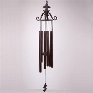 Leaf Scroll Iron Wind Chime with Fleur de Lis by SPI-HOME