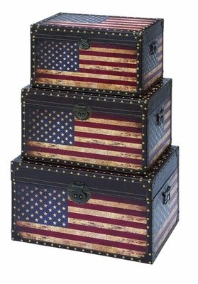 Leather and Wooden Trunk with American Flag Design - Set of 3  by Benzara