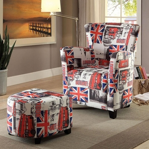 Leicester Contemporary Single Chair With Half Round Ottoman, Flag Design