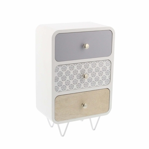 Lia Wood And Metal Jewelry Box,Multicolor - 85267 by Benzara